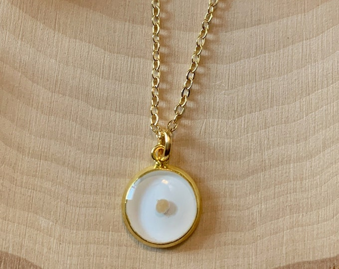 Faith of a mustard seed necklace in gold and white, Dainty gold mustard seed pendant, Delicate mustard seed pendant for her, Matthew 17 20