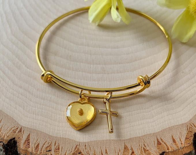 Gold heart bracelet for women, Faith of a mustard seed gold charm bracelet, Religious bracelet, Gold mustard seed bangle bracelet, Mom Gift