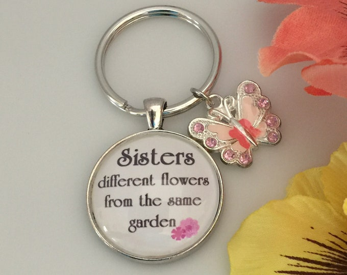 Sister Keychain, Glass with pink and peach butterfly with rhinestones, Different flowers from same garden, Psalm 139:14 Fearfully made