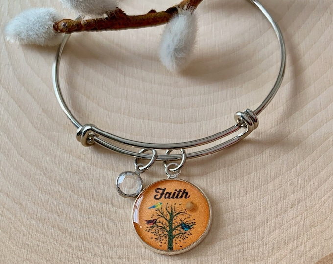 Faith like a mustard seed bracelet, Tree of Life bangle bracelet with Swarovski crystal, Christian charm bracelet for women