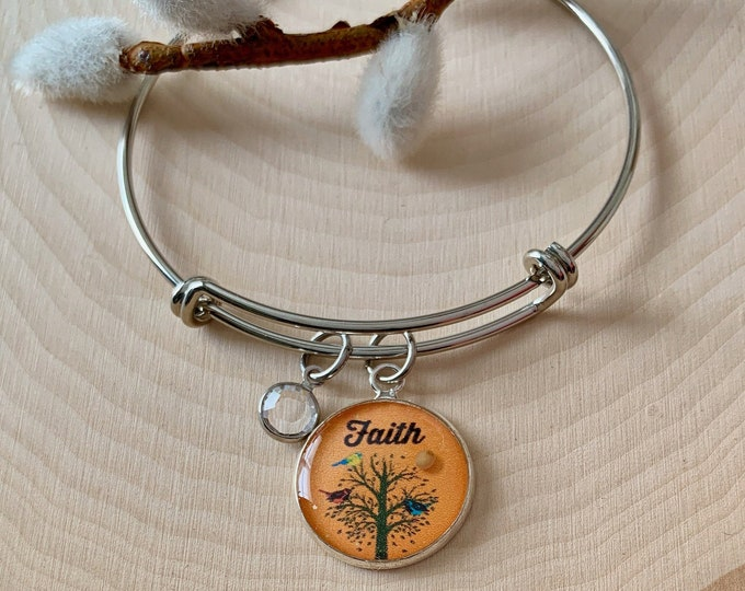 Christian faith mustard seed bangle bracelet, Tree of Life bangle bracelet with Swarovski crystal and real mustard seed, Christian bracelet