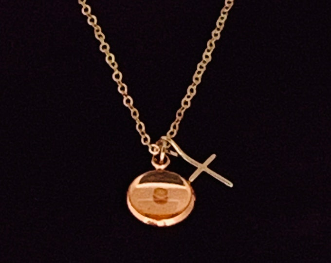 Rose gold faith of a mustard seed charm necklace with real mustard seed and cross on rose gold chain, Religious gift for her, Valentines Day