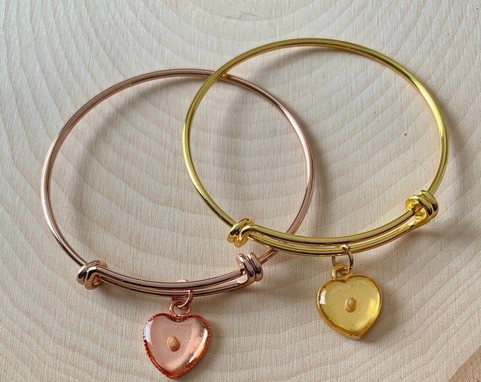 Faith of a mustard seed bangle bracelet for young girls in gold or rose gold with real mustard seed in a heart charm