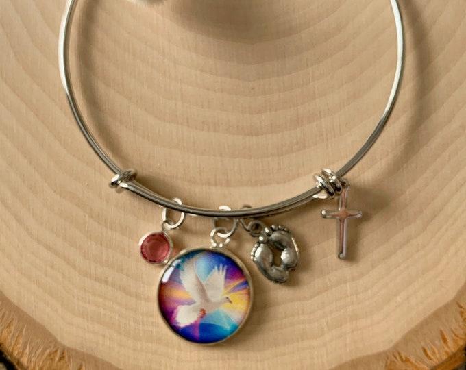 Rainbow baby bracelet for Mom, For this child I prayed bracelet, religious bracelet for new mother, Miracle baby scripture bracelet