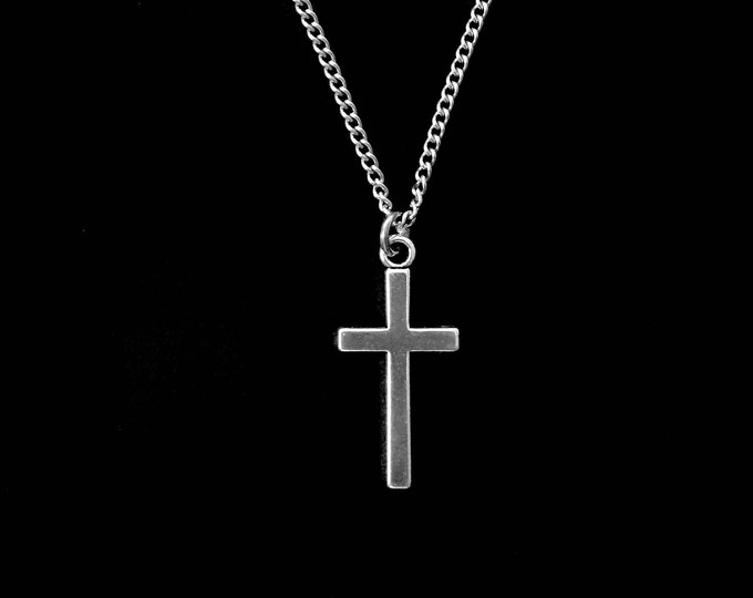 Silver cross necklace with stainless steel chain