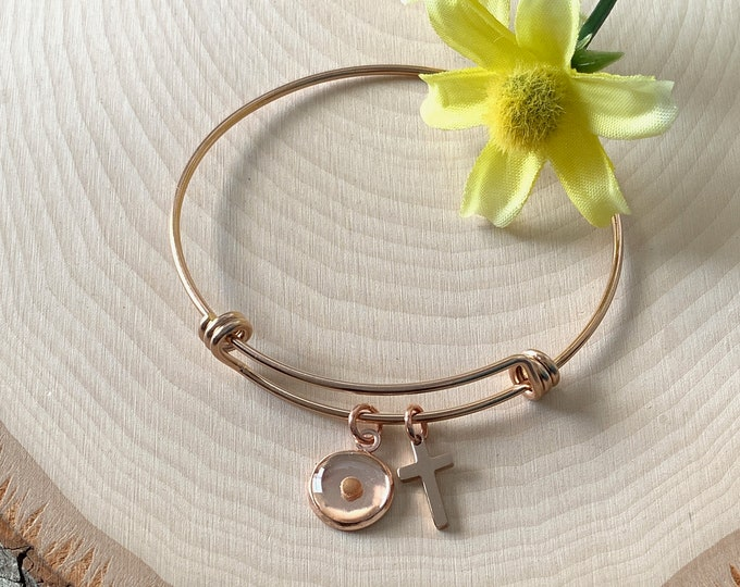 Faith of a mustard seed bangle bracelet for women in rose gold, rose gold stainless steel mustard seed charm bracelet for her