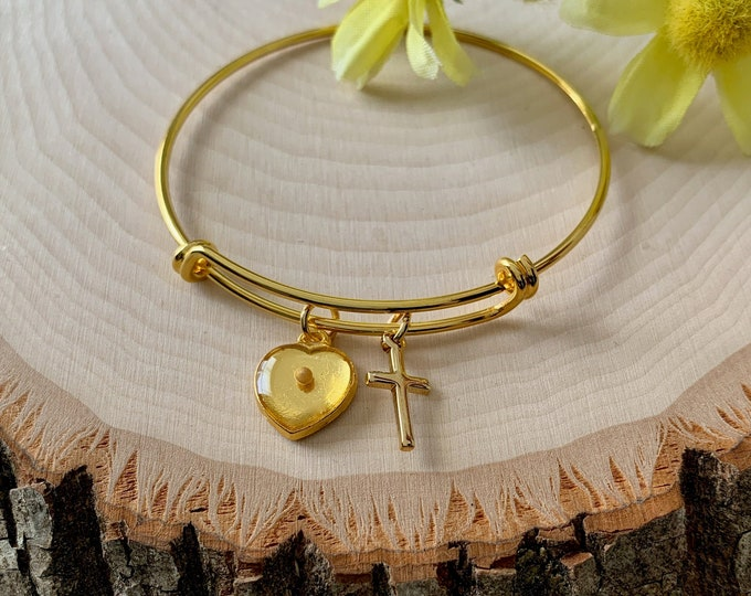 Gold heart bracelet for women, Faith of a mustard seed gold charm bracelet, Religious bracelet, Gold mustard seed bangle bracelet