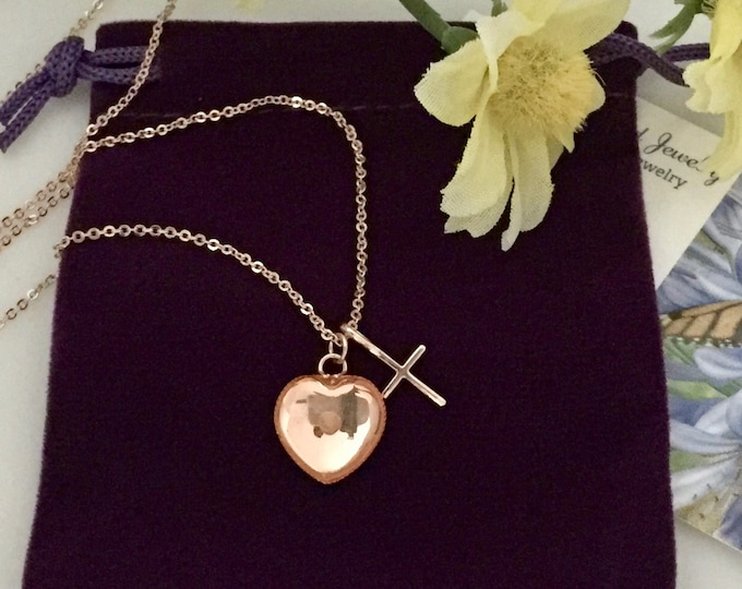 Rose Gold mustard seed necklace with tiny heart charm and cross with delicate rose gold chain