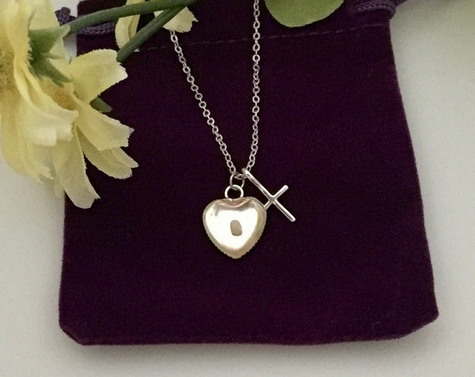 Silver cross necklace, silver heart necklace with mustard seed and cross, Gift for her, Christian necklace, Faith of a mustard seed necklace
