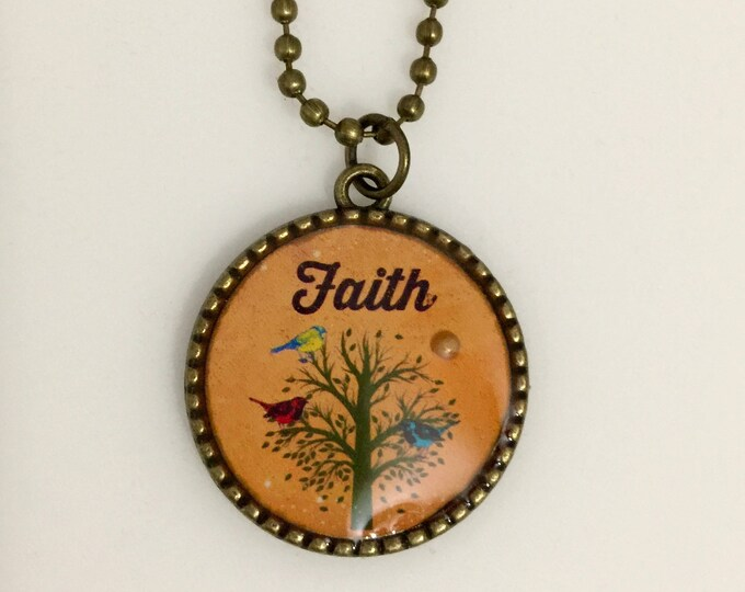 Mustard Seed Necklace, Tree of Life Necklace, Christian Gifts, Orange and Bronze Two sided Tree of Life Necklace, Scripture Matthew 17:20
