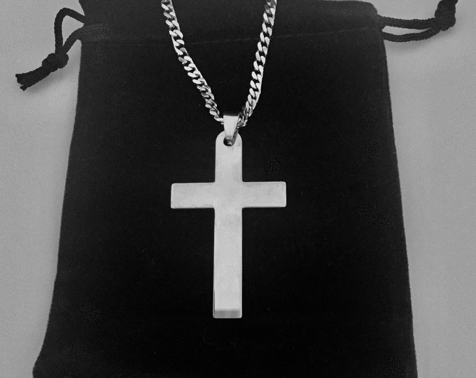 Silver stainless steel cross necklace for men with stainless steel curb chain