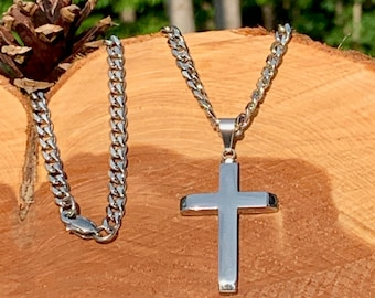 ec78aff9816 Silver stainless steel cross for men, Silver cross with beveled edges and beveled  edge cuban link chain, Stainless steel cross and chain.