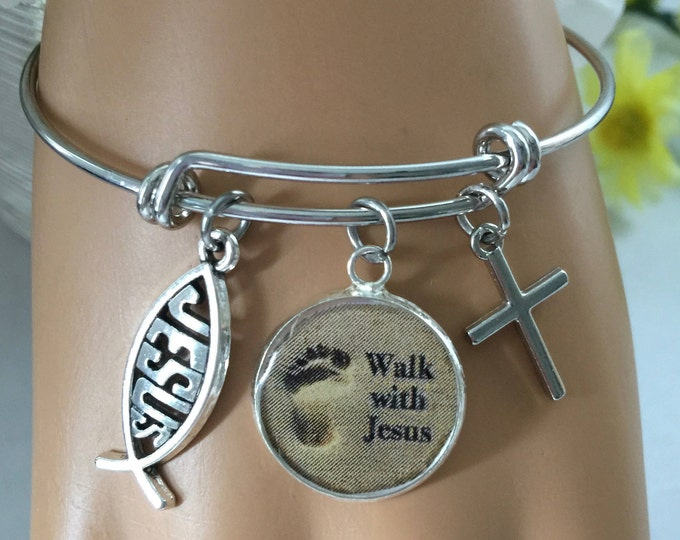 Christian Bangle Bracelet, Walk with Jesus, Scripture Jeremiah 29:11, Religious jewelry, Christian charm bracelet, non-tarnish rhodium plate