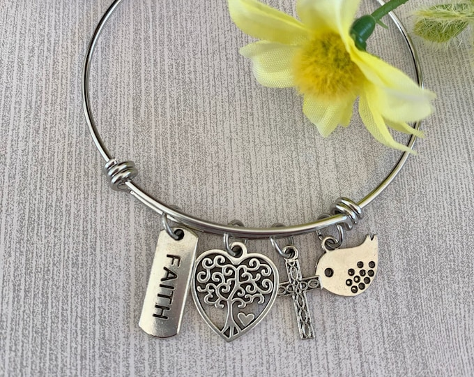 Silver Christian bangle bracelet with bird, heart, faith and cross charms on stainless steel bangle, Jeremiah 29 11 silver charm bracelet