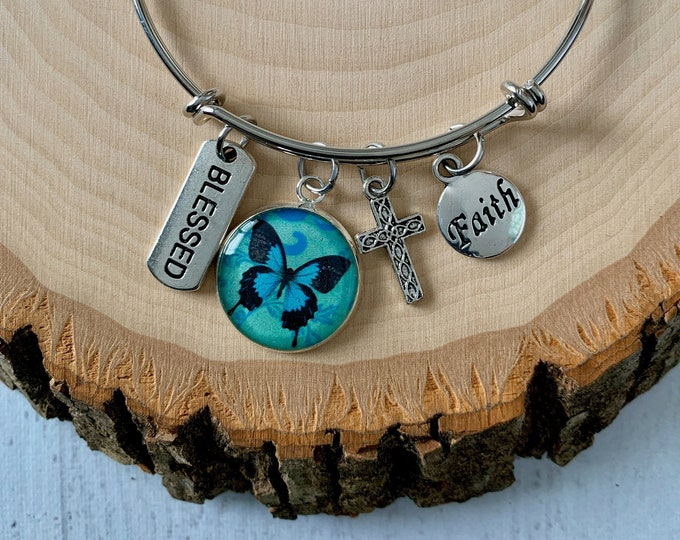 Blue butterfly christian bangle bracelet, Blessed is she scripture bracelet, blessed bangle for women, Silver christian bangle bracelet