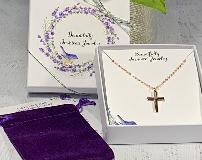 Rose gold cross necklace for women, Rose gold stainless steel cross and chain for her, Religious cross pendant for her, Cross for women
