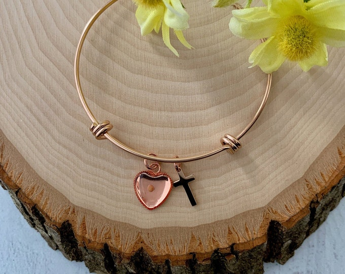 Faith of mustard seed bangle bracelet in rose gold,  rose gold heart bracelet for women, Rose gold faith bangle bracelet for her, Religious