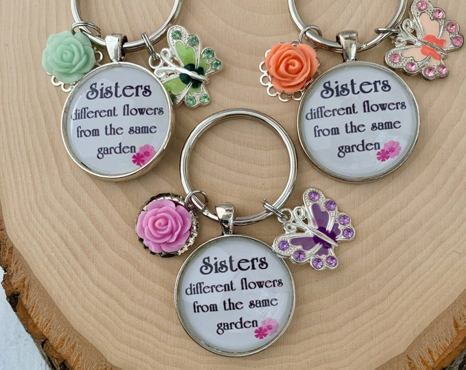 Religious keychain for sister, Sister keychain with flower and butterfly charm, Fearfully and wonderfully made keychain for sister