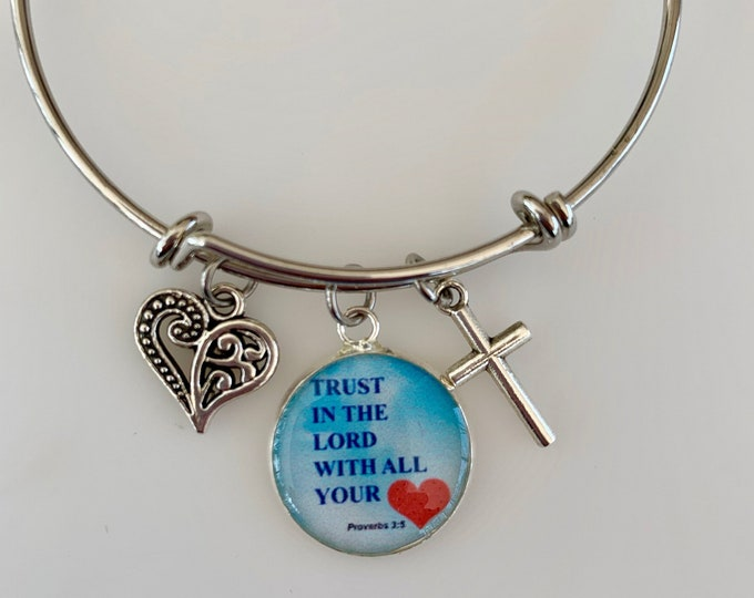 Proverbs bangle bracelet for women, Proverbs Trust in the Lord charm bracelet for her, Christian jewelry for her