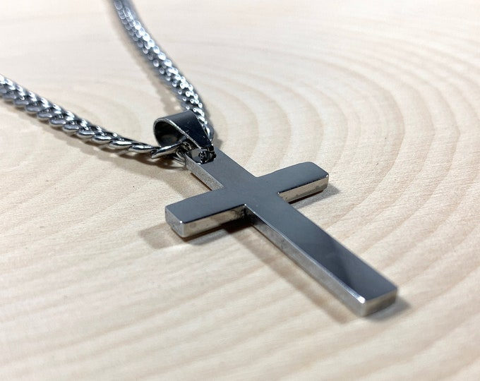 Silver or Gold Stainless steel cross necklace for Men, 316L Stainless steel cross necklace for men and boys