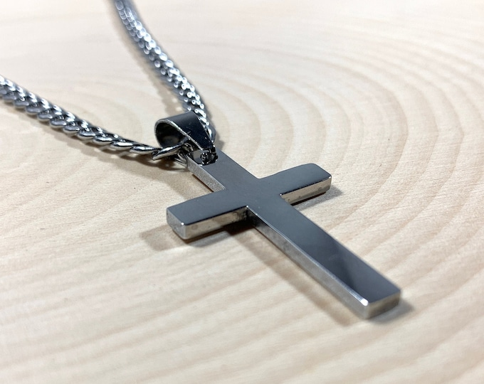 Silver or Gold Stainless steel cross necklace for Men, Strong stainless steel cross and curb chain for teen boys and men, Religious jewelry