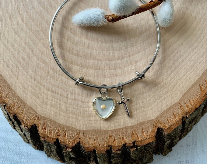 Silver faith of mustard seed bangle bracelet,  Heart bracelet for women, Silver faith bangle bracelet for her