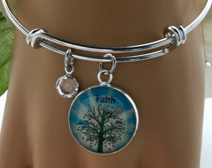 Christian bangle bracelet, Mustard Seed Jewelry, John 3:16, Swarovski Crystal, Silver and  Light Turquoise Faith Bracelet, rhodium