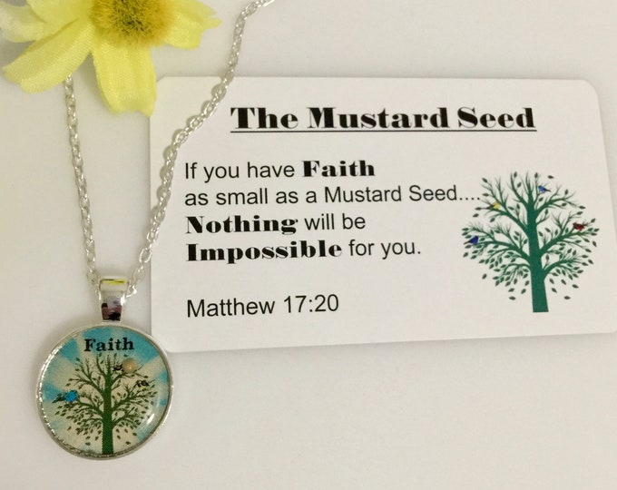 Faith of a Mustard Seed Necklace in silver, blue and green