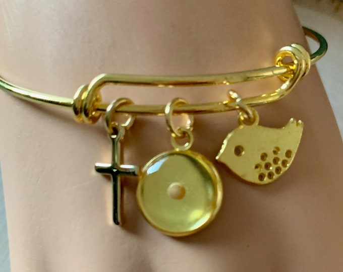 Gold Faith of a mustard seed bangle bracelet for women, adjustable gold mustard seed bracelet for her, Gold christian charm bracelet