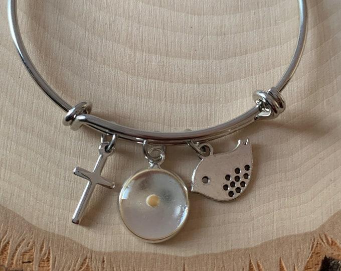 Silver Faith of a mustard seed bangle bracelet for women, adjustable silver mustard seed bracelet for her, Silver christian charm bracelet