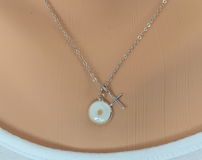Faith of a mustard seed necklace in silver and white with cross, Dainty silver rhodium mustard seed pendant with cross, Matthew 17 20