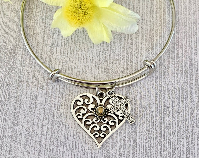 Filigree heart bangle bracelet with mustard seed and filigree cross, Silver bangle bracelet with heart and cross charms and mustard seed