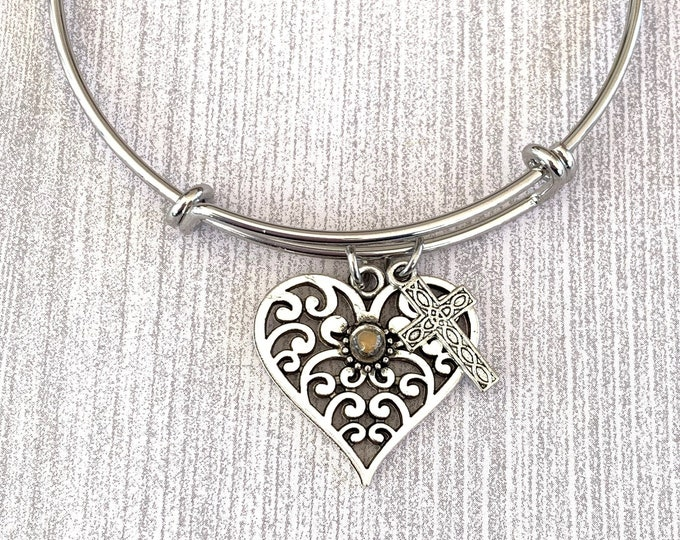 Filigree heart bangle bracelet with mustard seed and filigree cross, Silver Christian bangle bracelet with heart and cross charms