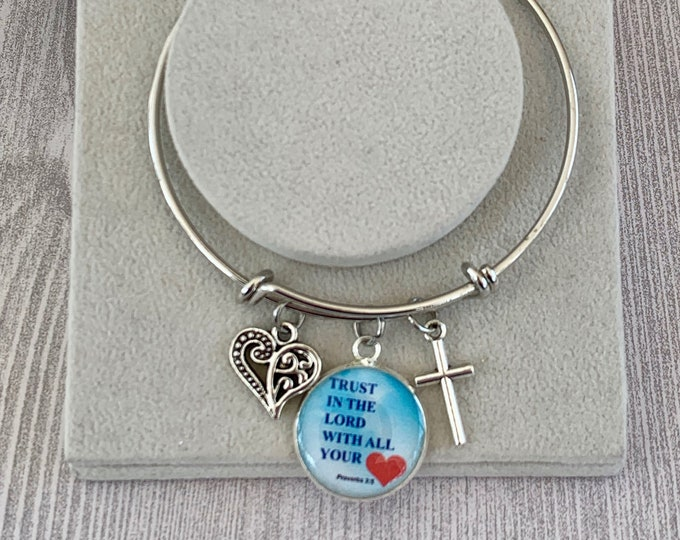 Silver Trust in the Lord bangle bracelet with charm, cross and filigree heart, Mother's Day bracelet, Graduation Gift for her, Baptism Gift