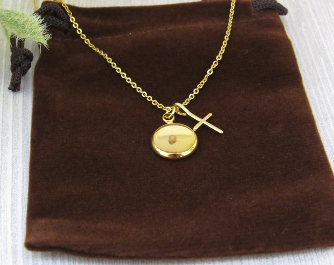 Gold mustard seed pendant with cross