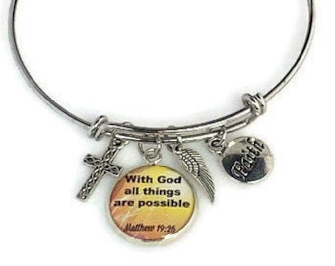 Christian bangle  bracelet With God all things are possible, Matthew 19 26 charm bracelet With God all things are possible, Gift for woman