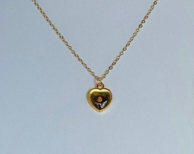 Gold heart necklace with mustard seed setting and delicate gold chain, Gold faith of a mustard seed necklace for woman, Matthew 17:20 gift