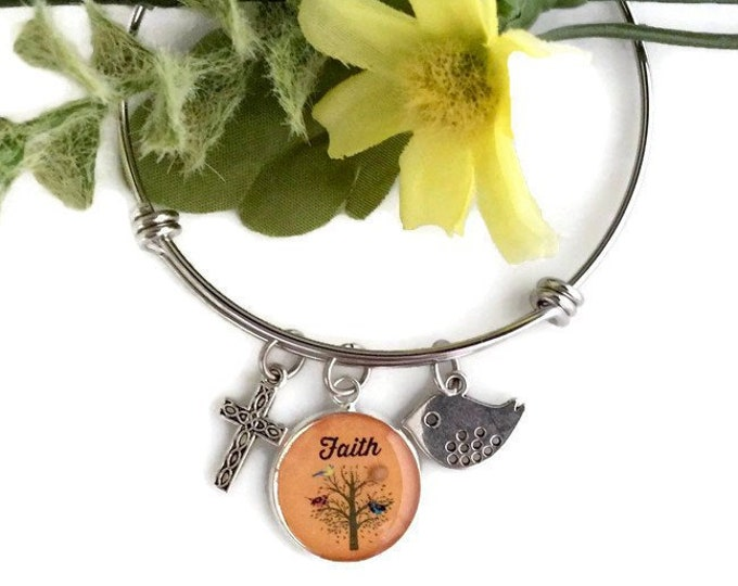 Mustard seed charm bracelet with real mustard seed, bird and cross for women, tree of life bracelet for women