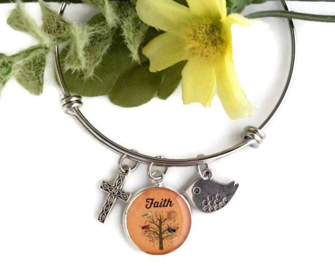 Faith of a mustard seed christian bangle bracelet, silver bangle with real mustard seed, tree, bird and cross charms, Graduation Gift