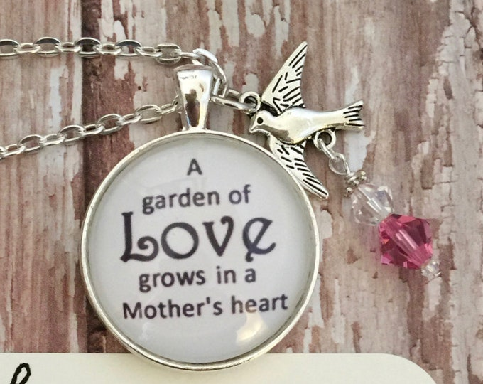 Mother pendant with bird charm, Swarovski crystals on silver chain necklace with scripture card 1 Corinthians 13:7-8, Gift for Mom