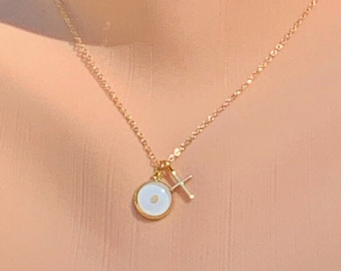 Faith of a mustard seed necklace in delicate gold and white with cross, Dainty gold mustard seed pendant with cross for her, Matthew 17 20