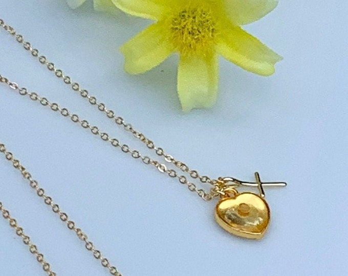 Gold mustard seed necklace with tiny heart charm with real mustard seed and cross with delicate gold chain, Faith necklace for women