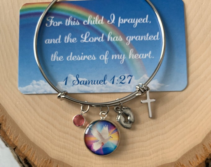 Rainbow baby bracelet for Mom, For this child I prayed bracelet, religious bracelet for new mother, Miracle baby scripture bracelet