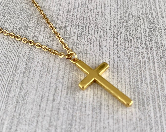 Gold cross necklace with gold stainless steel chain, Easter Gift, Mothers Day Gift, Cross for girls, Cross for boys, Unisex cross necklace.