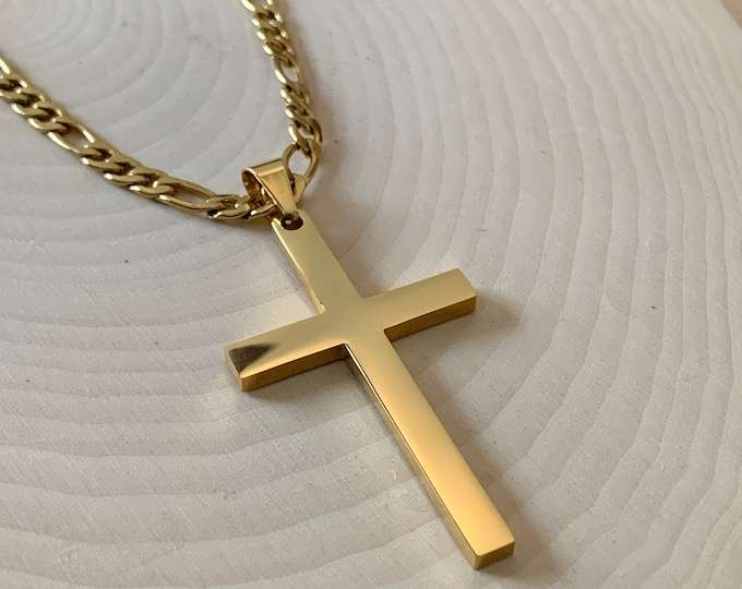 Large gold cross necklace for men with Figaro chain, Gold 316L stainless steel cross necklace for men, Religious gift for man