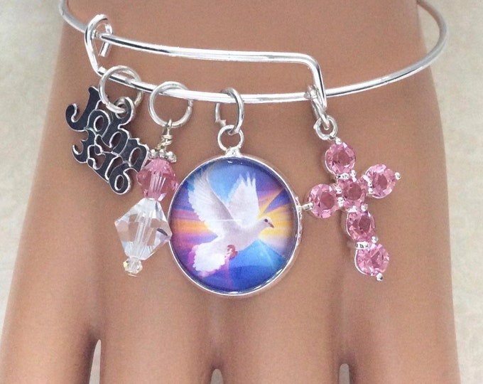 Christian bangle bracelet, silver with Dove charm and pink crystals