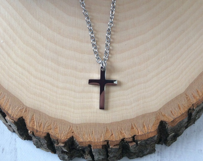 Silver cross necklace for boys and girls, religious easter gift for children, stainless steel cross for boys and girls
