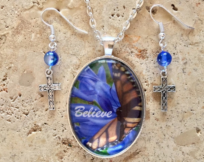 Hawaiian Jewelry Set, Blue Flower Necklace with Butterfly and Believe, Blue and Silver Christian Earrings, Nature Jewelry, Christian Gifts