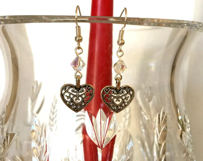 Swarovski crystal and heart drop earrings, Filigree heart and crystal drop earrings, Romantic Earrings, Valentines Day Gift earrings