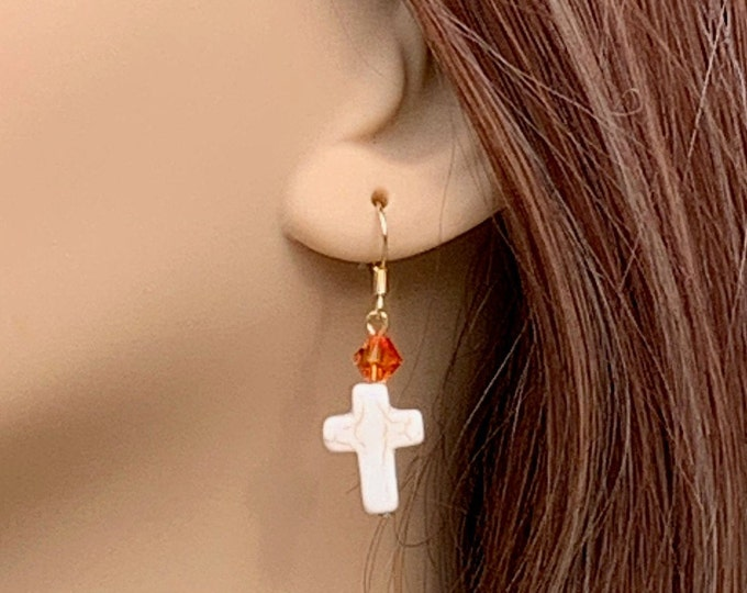 White cross and yellow orange Swarovski crystal drop earrings with gold hooks, fire orange Swarovski crystal and white cross dangle earrings